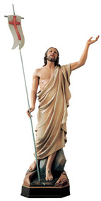 "Resurrection Christ is available in Colored Carved Linden Wood, Marble, or Fiberglass.  Outdoor Finishes in White, Antique Silver or 3 Bronze Finishes: Antique Bronze, Statuary Bronze  or Golden Bronze finish (See Finishes Chart) .Size: 36"", 48"", or 60"". Please call 1.800.523.7604 for pricing"
