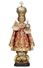 "The Infant of Prague statue is made from select alpine wood that has been air dried.  Skilled carvers sculpt the statues, the statue is then brought to life by talented painters.  Each precious carving is inspected and provided a certificate of authenticity.  Size: 3, 3.5, 4, 5, 6, 8"", 11"", 15"",  22"", 59"", or 71"". Imported from Italy! Allow 3-4 weeks if not in stock.  Please call 1.800.523.7604 for pricing"