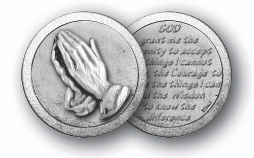 """1.125"""" Praying Hands/SerenityPrayer Pocket Coin with Antique Silver Finish """"God, Grant me the serenity to accept the things I cannot change, the courage to change the things I can, and the wisdom to know the difference."""""""