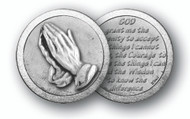 "1.125"" Praying Hands/SerenityPrayer Pocket Coin with Antique Silver Finish ""God, Grant me the serenity to accept the things I cannot change, the courage to change the things I can, and the wisdom to know the difference."""