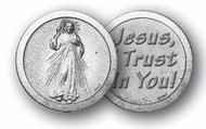 """1.125""""  """"Jesus, I Trust in You"""". Prayer Pocket Coin with Antique Silver Finish"""
