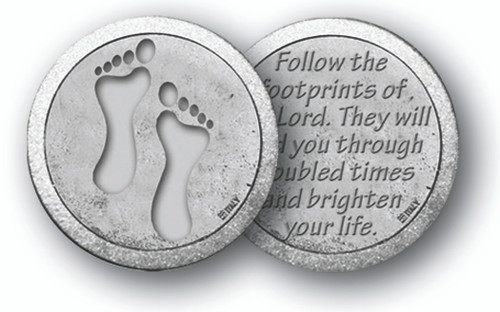 """1.125""""  """"Footprints""""  Prayer Pocket Coin with Antique Silver Finish """"Follow the Footprints of the Lord. They will lead you through troubled times and brighten your life."""""""