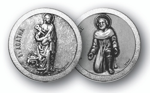 """1.125""""  """"St. Agatha & St Peregrine""""Patron Saints of Cancer Prayer Pocket Coin with Antique Silver Finish"""