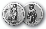 "1.125""  ""St. Agatha & St Peregrine""Patron Saints of Cancer Prayer Pocket Coin with Antique Silver Finish"