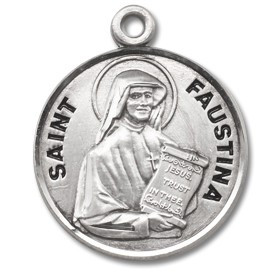 "Saint Faustina Medal Round sterling silver St. (Maria) Faustina w/18"" Chain with a genuine rhodium-plated, stainless steel chain in a deluxe velour gift box. Engraving Available"