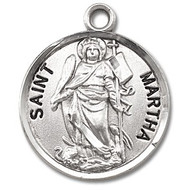 "Saint Martha Medal ~ Solid .925 sterling silver round St. Martha medal/pendant come on an 18"" Genuine rhodium plated fine curb chain.  Deluxe velvet gift box is included. Dimensions: 0.9"" x 0.7""(22mm x 18mm). Engraving Available. Made in the USA."