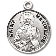 "Saint Maximilian Kolbe Medal ~ Round sterling silver St. Maximilian Kolbe Medal with a genuine rhodium-plated stainless steel 20"" Chain Comes in a deluxe velour gift box. Engraving available"