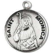 "Saint Monica Medal ~ Solid .925 sterling silver round St. Monica medal/pendant. Saint Monica is the Patron Saint of mothers, and religious lay women. An 18"" Genuine rhodium plated fine curb chain and a deluxe velour gift box are included. Engraving Available. Made in the USA"