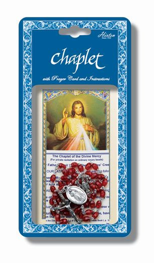"""Divine Mercy Deluxe Chaplet with Oval Red Beads. Packaged with a laminated holy card & instruction pamphlet.  (Overall 6.5"""" x 3.5"""")"""