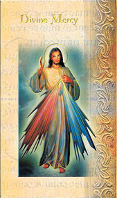 The Divine Mercy Pamphlet. 2 Page Biography, Name Meaning, Patron Attributes, Prayer to Saint, Feast Day Pamphlet is Gold Stamped Italian Art