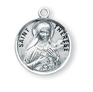 "Saint Therese Medal ~ Solid .925 sterling silver Saint Therese of Lisieux round medal-pendant. Saint Therese of Lisieux is the Patron Saint of florists, missionaries, aviators and tuberculosis. An 18"" Genuine rhodium plated curb chain and  a deluxe velour gift box are included. Dimensions: 0.9"" x 0.7""(22mm x 18mm).   Made in the USA. Engraving Available"