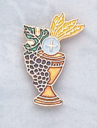"Gold-plated Chalice Lapel Pin with Enameled Wheat & Grapes. 3/4""W x 1 1/8""H. Individually Carded"