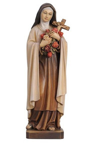 Statue is hand carved in maple wood and hand painted in oil colors by professional artists. The sculpture shows all classical features with complete follow through in detail. Available in many sizes including figurine sizes, natural wood or bronze cast  Please call 1.800.523.7304 for special orders and pricing Prices reflect hand painted wood statues only