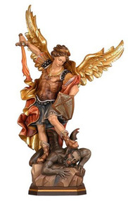 "St Michael Hand carved in maple wood. Natural wood or hand painted in oil colors by professional artists.  The sculpture shows all classical features in detail. Many sizes including figurine sizes (range from 6"" to 71""). Please call 1.800.523.7304 for special orders and pricing.  Prices reflect hand painted wood statues only"