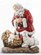 Slim Line Kneeling Santa Resin Figurine ~ Combining the two major symbols of Christmas - the Christ Child and Santa Claus - in a way that connotes their proper relationship - the secular subservient to the sacred - is an idea that goes back many years with Ray Gauer. While raising his own large family he became increasingly concerned about the over-commercialization of the holiday. To depict Santa Claus - St. Nicholas - on his knees before the newborn Christ Child, seemed a most effective means to counteract that trend.  The idea - which he humbly considers inspired - reached fruition in the beautiful figurine of the KNEELING SANTA which he commissioned the internationally renowned sculptor, Rudolph Vargas, to create in 1976. It has evolved into an extensive line of related products that have won a place of honor in Christian homes, schools and churches.