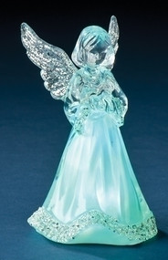 "3.5"" Acrylic LED Little Angel. LED Little Angel is Tricolor. Dimensions are: 3.75""H 2.25""W 2.5""D. Battery operated and included."