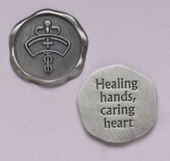 "1"" diameter ""Healing Hands Caring Heart"" Nurses pocket token"