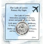"Inspirational Moments ~ OL of Loreto, Protect our Flight. Perfect for purse, briefcase or pocket, these small devotional remembrances are a helpful way to encourage you to have an inspirational moment every day. Contains a prayer card and devotional remembrance. Card Size: 2 3/4"" x 3"""