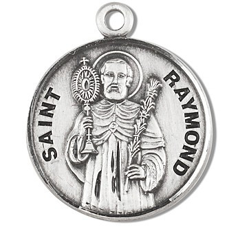 "Solid .925 sterling silver Saint Raymond round medal-pendant.  Saint Raymond is the Patron Saint of expectant mothers, and those falsely accused.  A 20"" Genuine rhodium plated curb chain and a deluxe velour gift box are included.  Dimensions: 0.9"" x 0.7""(22mm x 18mm). Made in the USA. Engraving Option Available"