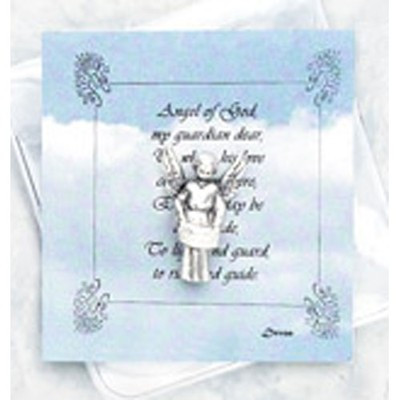 """Inspirational Moments Angel of God Pocket Token and Prayer Card.  Perfect for purse, briefcase or pocket, these small devotional remembrances are a helpful way to encourage you to have an inspirational moment every day. Contains a prayer card and devotional remembrance. Card Size: 2 3/4"""" x 3"""""""