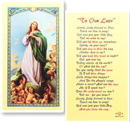 Lovely Lady in Blue Laminated Holy Card