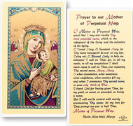 Our Lady of Perpetual Help Laminated Holy Card