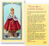 Infant of Prague Novena  Holy Card. This card is a clear, laminated Italian holy card with gold accents. Features World Famous Fratelli-Bonella Artwork. 2.5'' X 4.5''