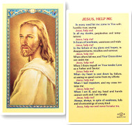 Jesus Help Me, Head of Christ  Laminated Holy Card