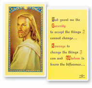Head of Christ/Serentiy Prayer. Clear, laminated Italian holy cards with gold accents.  Features World Famous Fratelli-Bonella Artwork. 2.5'' X 4.5''