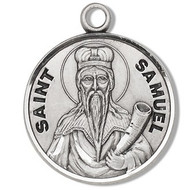 "Saint Samuel Medal ~ Solid .925 sterling silver Saint Samuel round medal-pendant. Saint Samuel is the Patron Saint of miners.  A 20"" Genuine rhodium plated curb chain and a deluxe velour gift box are included. Dimensions: 0.9"" x 0.7""(22mm x 18mm). Made in the USA.  Engraving Option Available"