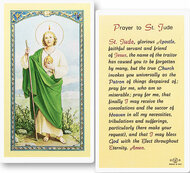 Prayer to St Jude Laminated Holy Card. Clear, laminated Italian holy cards with gold accents.  Features World Famous Fratelli-Bonella Artwork. 2.5'' X 4.5''