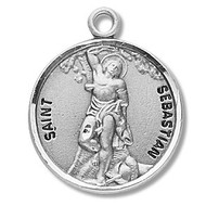 "Saint Sebastian Medal ~ Solid .925 sterling silver Saint Sebastian round medal-pendant.  Saint Sebastian is the Patron Saint of athletes, archers, armorers, and soldiers. A 20"" Genuine rhodium plated curb chain and a deluxe velour gift box are included.  Dimensions: 0.9"" x 0.7""(22mm x 18mm). Made in the USA. Engraving Option Available"