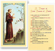 Prayer for Peace St. Francis Holy Card measures 2.5'' X 4.5''. Clear, laminated Italian holy card with gold accents. Features World Famous Fratelli-Bonella Artwork.