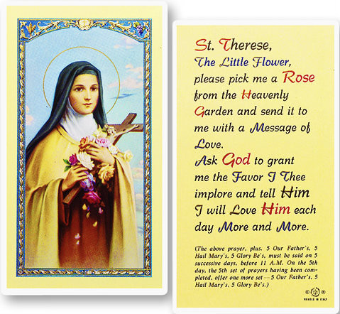 St therese novena pick me a rose prayer st jude shop inc clear laminated italian holy cards with gold accents features world famous fratelli bonella thecheapjerseys Gallery