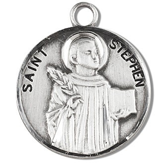 """Solid .925 sterling silver Saint Stephen round medal-pendant. Saint Stephen is the Patron Saint of Deacons, bricklayers, and stonemasons. A 20"""" Genuine rhodium plated curb chain and a deluxe velour gift box are included. Dimensions: 0.9"""" x 0.7""""(22mm x 18mm). Made in the USA. Engraving Option Available"""