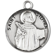 "Solid .925 sterling silver Saint Stephen round medal-pendant. Saint Stephen is the Patron Saint of Deacons, bricklayers, and stonemasons. A 20"" Genuine rhodium plated curb chain and a deluxe velour gift box are included. Dimensions: 0.9"" x 0.7""(22mm x 18mm). Made in the USA. Engraving Option Available"