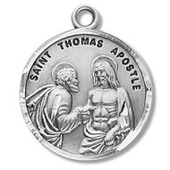 "Saint Thomas the Apostle Medal  ~ Sterling silver round St. Thomas the Apostle on a 20"" Genuine rhodium plated curb chain.  Saint Thomas the Apostle is the Patron Saint of architects, builders, geometricians, and carpenters.Medal comes in a deluxe velour gift box.  Dimensions: 0.9"" x 0.7""(22mm x 18mm)Made in the USA. Engraving Option Available"