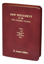 A completely new Catholic translation in conformity with the Church's translation guidelines, the New Catholic Version is intended to be used by Catholics for daily prayer and meditation, as well as private devotion and group study as an alternative to other translations currently available. This faithful reader-friendly translation of the New Testament was prepared by the same team as the NCV Psalms released in 2002 and widely acclaimed for its readability and copious, well-written and informative notes. This St. Joseph Edition with photographs and maps of the Holy Land and many other Bible helps, including the words of Christ in red, features a burgundy leather cover and gilded edges. Gift Boxed.
