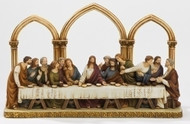 "Florentine Style Last Supper Figure for Tabletop. Resin/Stone Mix. Dimensions: 7.28""H x 3.74""D x 12.1""W"