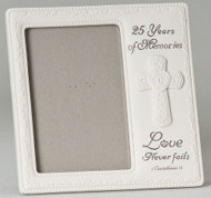 "8"" 25th Wedding Anniversary. ""Love Never Fails"". Holds a 4 x 6 photo"