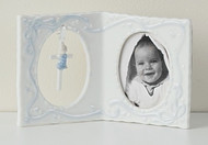 "Porcelain Girl or Boy Baby Frame with Cross . 4""H x 6.25""W x 1.237""D. Gift Box"