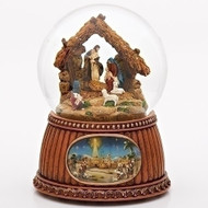 "Combine a classic Christmas decoration with a beautifully designed nativity scene. This musical snow globe is the perfect addition! Features: This musical snow globe plays ""O Holy Night"". The snow globe features a nativity scene inside the globe filled with glitter. An illustration of Bethlehem is placed on the base of the snow globe. This snow globe is the perfect decoration for Christmas. It combines the classic style of the snow globe with the nativity scene, creating a beautiful decoration. The snow globe is filled with glitter and plays ""O Holy Night"". The base of the snow globe is designed to look like wood for a classic and rustic feel and has a illustration of Bethlehem centered on it."