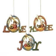 "5.5"" Wood-look Holy Family Kids Ornaments. Your choice of Love, Hope  or Joy. Material: Resin. Each sold separately! Please make selection."