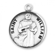 """Solid .925 sterling silver sterling silver round St. William medal. St William medal comes with a 20"""" genuine rhodium-plated, stainless steel chain in a deluxe velvet gift box.  Saint William is the Patron Saint of kidnapped, and adopted kids. Dimensions: 0.9"""" x 0.7""""(22mm x 18mm). Weight of medal: 3.3 Grams. Engraving Option Available. Made in USA."""