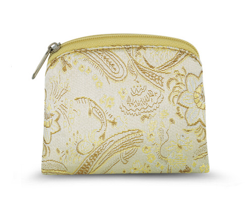 """3.25"""" x 3.75"""" Gold Brocade Rosary Pouch with Anti-Tarnish Lining. Zipper Closure. Rosary not Included"""