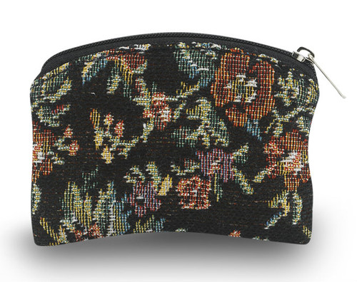 "3"" x 4"" Black Flower Pattern Borcade Rosary Pouch. Black brocade rosary pouch comes with velvet lining and has a zipper closure.  Rosary not Included"
