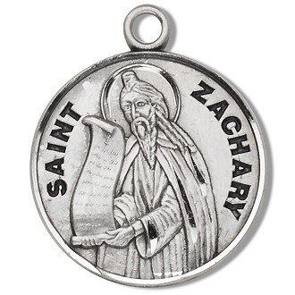"""Solid .925 sterling silver Saint Zachary round medal-pendant. Saint Zachary is the Patron Saint of Peace. St. Zachary comes with a 20"""" Genuine rhodium plated curb chain and a deluxe velvet gift box. Made in USA. Engraving Option Available"""