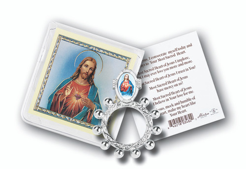 "Sacred Heart of Jesus Finger Rosary, with Gold Stamped Holy Card Packaged in a clear soft pouch, 3"" x 3""   Made in Italy"