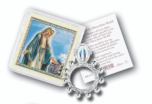 """Our Lady of Grace Finger Rosary, with Gold Stamped Holy Card Packaged in a clear soft pouch, 3"""" x 3""""   Made in Italy"""