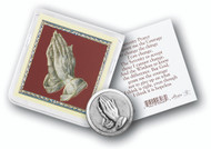 Serenity Prayer Card and Praying Hands Pocket Coin in Plastic Casing